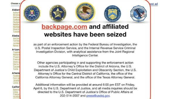 The U.S. government seized backpage.com.