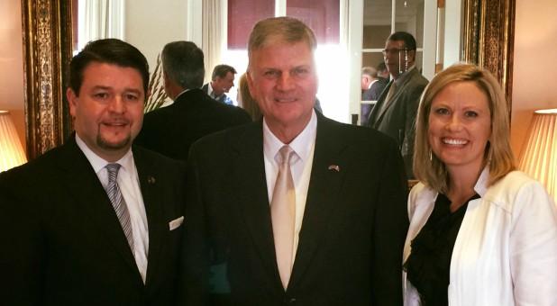 Sen. Jason Rapert, left, with Franklin Graham, center.