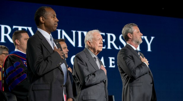 Ben Carson, Jimmy Carter and Jerry Falwell at Liberty University's Commencement.