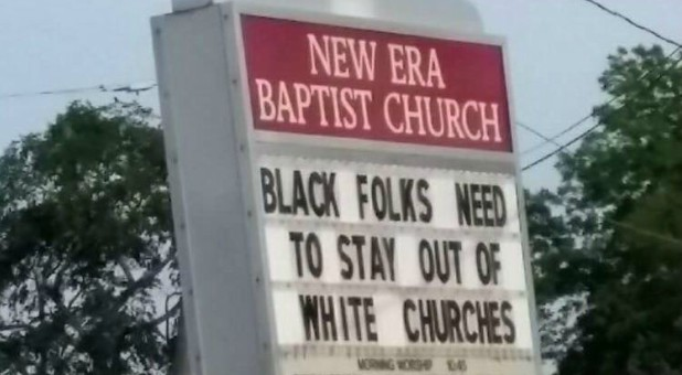 The sign at New Era Baptist Church in Birmingham.