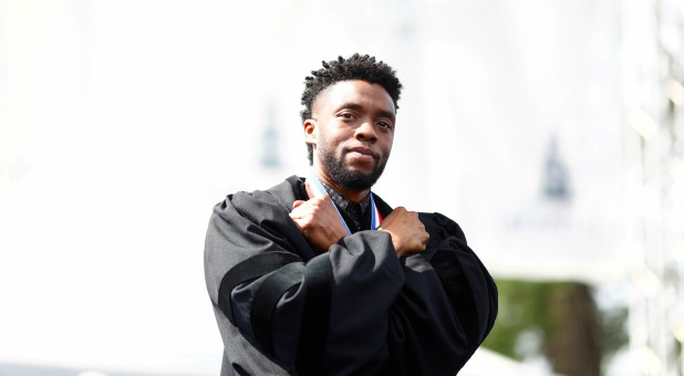 Actor Chadwick Boseman addresses the 150th commencement ceremony at Howard University.