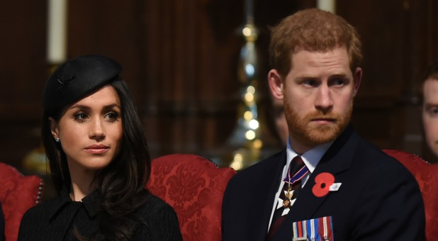 Prince Harry and his fiancee Meghan Markle attend a Service of Thanksgiving and Commemoration on ANZAC Day at Westminster Abbey in London.