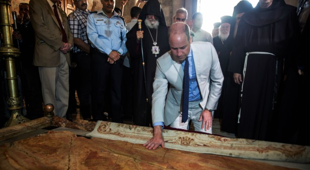 Britain's Prince William visits the Church of the Holy Sepulchre in Jerusalem's Old City.
