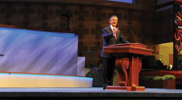 "Robert Jeffress' Dallas First Baptist Church purchased a billboard that simply read, ""America is a Christian Nation."""