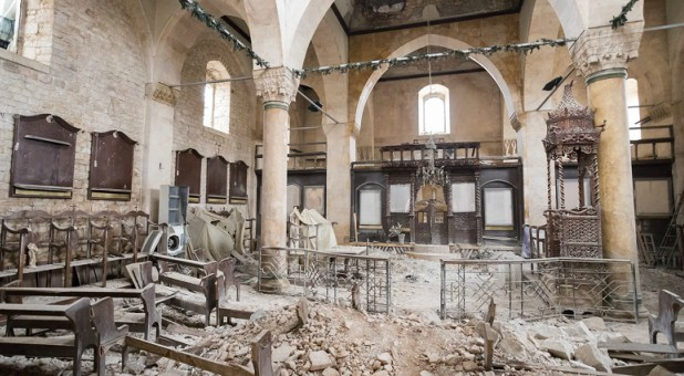 A badly damaged Greek Orthodox church in the old quarter of Aleppo.