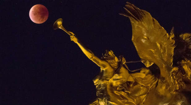 A blood moon as seen in Paris, France.
