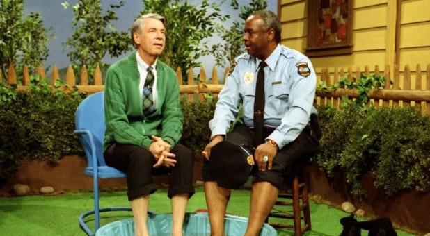 "Fred Rogers, left, with Francois Scarborough Clemmons on the show ""Mister Rogers' Neighborhood."""