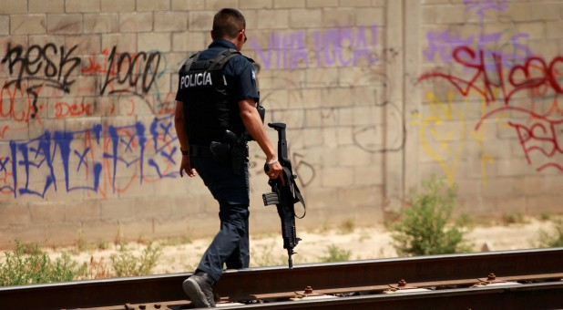 A police officer in Ciudad Juarez, Mexico.