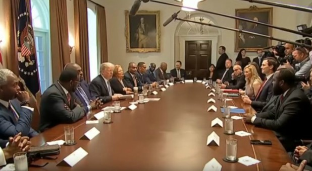 President Trump meets with pastors.