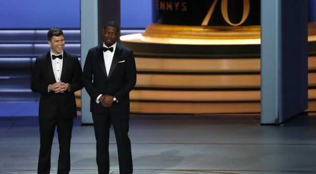 Colin Jost and Michael Che host the 70th Emmys.