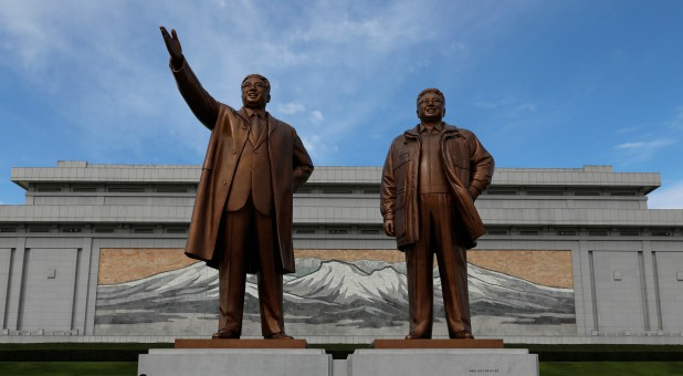 Bronze statues of the late leaders Kim Il Sung and Kim Jong Il