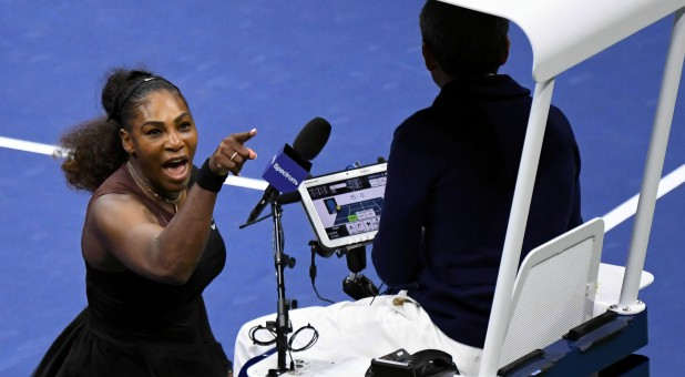 Serena Williams of the United States yells at chair umpire Carlos Ramos in the women's final against Naomi Osaka of Japan.
