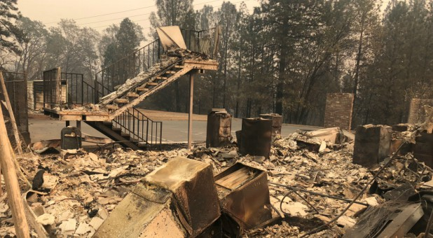 A set of stairs sits among ruins after wildfires devastated the area in Paradise, California.