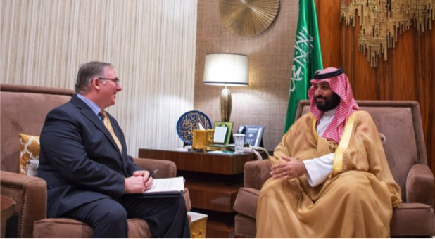 HRH Crown Prince Meets with Joel C. Rosenberg and a delegation of American evangelical Christian leaders at the royal palace Friday.