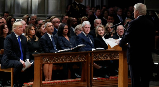 President Donald Trump, first lady Melania Trump, former President Barack Obama, Michelle Obama, former President Bill Clinton, former Secretary of State Hillary Clinton and former President Jimmy Carter