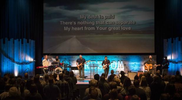 A worship service at Vineyard Church in Kansas City.