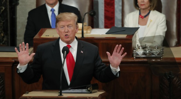 U.S. President Donald Trump delivers his State of the Union address to a joint session of Congress on Capitol Hill.
