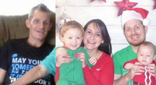 Jonathan Hacker, left, when he came home on Christmas Day 2012. And again, right, last Christmas.