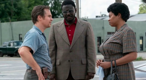 "Sam Rockwell, left, and Taraji P. Henson, right, star in ""The Best of Enemies."""