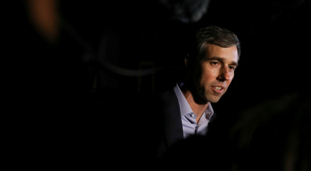 Democratic 2020 presidential candidate Beto O'Rourke speaks to the media.