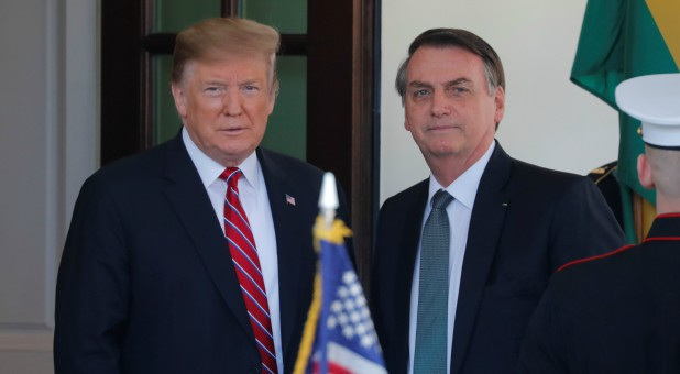 U.S. President Donald Trump welcomes Brazilian President Jair Bolsonaro to the White House.