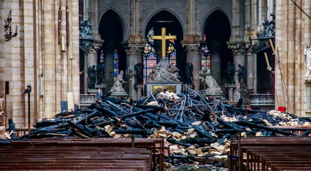 A view of debris inside Notre Dame Cathedral.