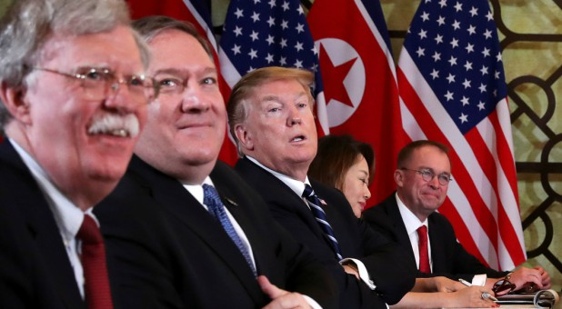 U.S. President Donald Trump, U.S. Secretary of State Mike Pompeo, White House national security adviser John Bolton and acting White House Chief of Staff Mick Mulvaney