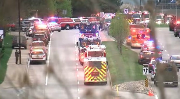 Emergency personnel respond to the shooting at STEM Highlands Park.