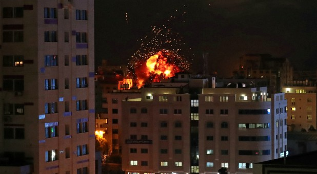 A ball of fire is seen during an Israeli air strike in Gaza City, May 4.