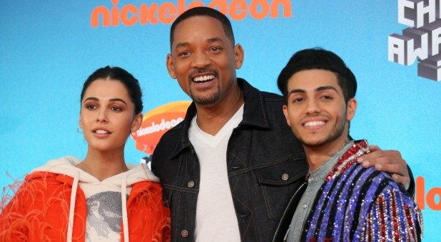 Actors Naomi Scott, Will Smith and Mena Massoud