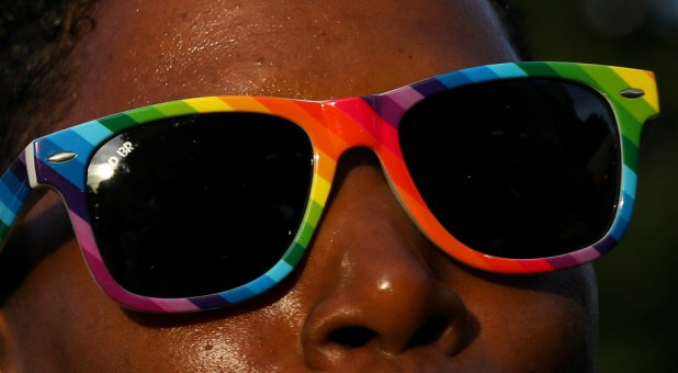 A participant takes part in the Brooklyn Pride Twilight Parade in the Brooklyn borough of New York City/