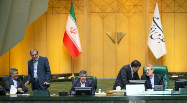 Speaker Ali Larijani attends a session of Parliament in Tehran, Iran.