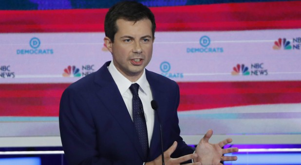 South Bend Mayor Pete Buttigieg speaks during the second night of the first Democratic presidential candidates debate.