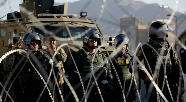 Customs and Border Protection (CBP) Mobile Field Force and Special Response Team members are seen at Paso del Norte border crossing bridge.