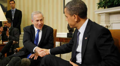 U.S. President Barack Obama shakes hands during his meeting with Israel's Prime Minister Benjamin Netanyahu in the Oval Office of the White House in Washington, March 5, 2012. (Reuters/Jason Reed)