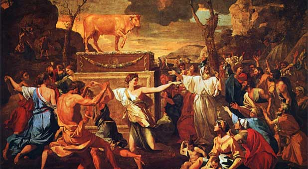 'The Adoration of the Golden Calf' by Nicolas Poussin