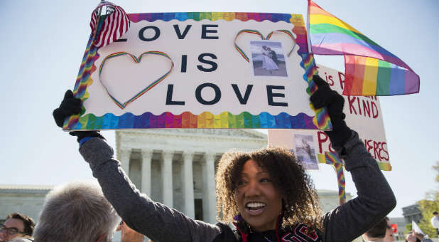 Gay rights activists say love is love.
