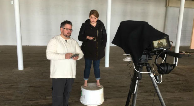 Director Darren Wilson, left, will debut his new TV show, 'Adventures With God.'