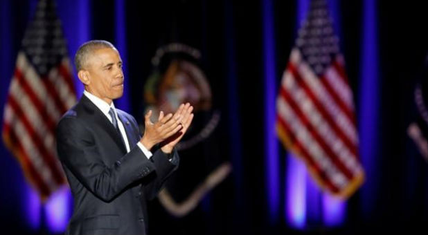 U.S. President Barack Obama claps after giving a farewell address at McCormick Place in Chicago