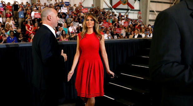 U.S. first lady Melania Trump steps from the stage after speaking at U.S. President Donald Trump's 'Make America Great Again' rally at Orlando Melbourne International Airport