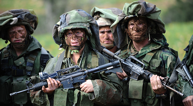 Israeli Defense Force Soldiers in Camouflage Training