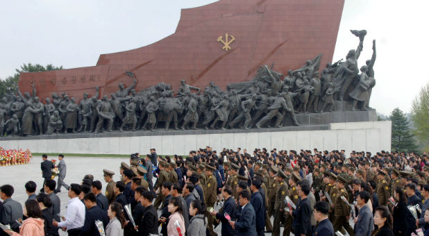 People mark the 85th founding anniversary of the Korean People's Army (KPA) in this handout photo by North Korea's Korean Central News Agency (KCNA).