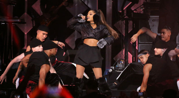Ariana Grande performs at Z100's Jingle Ball in Manhattan, New York.