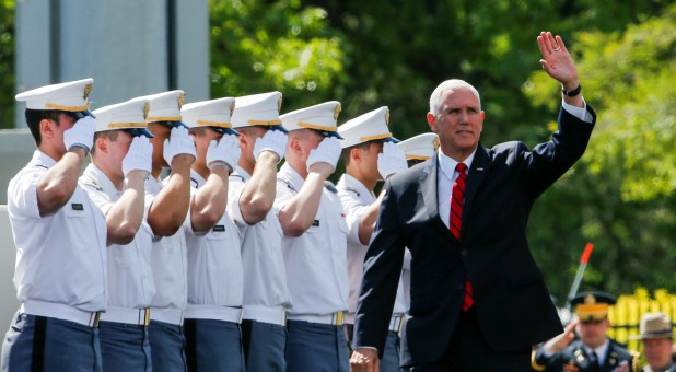 U.S. Vice President Mike Pence waves to the guests as he attends the United States Military Academy commencement ceremony in West Point.